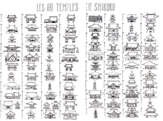 tirage d'art dessin : le pèlerinage des 88 temples de Shikoku, Japon, par Yann Breton - Bouts du monde