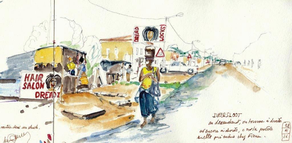 Carnet de voyage dessiné en Afrique du Sud - Johannesburg - Michel Davinroy, carnettiste - Bouts du monde