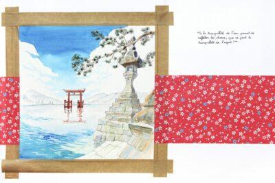 tirage d'art dessin : Miyajima par Yann Breton, Torii, Japon - Bouts du monde