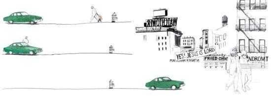 tirage d'art dessin : arrivée à Brooklyn par lauré Fissore, illustratrice, Bouts du monde