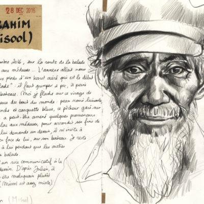 Stéphanie Ledoux : portrait d'Ibrahim, en Papouasie, tirage d'art dessin - Bouts du monde