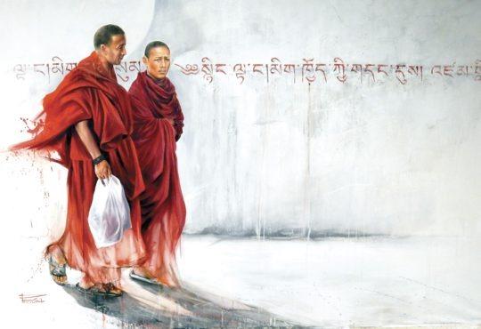 Sonia Privat : tirage d'art dessin deux moines à Bodnath, Népal - Bouts du monde