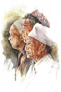 tirage d'art dessin : trois hommes à Bhaktapur par Sonia Privat, cornettiste, Népal, Bouts du monde