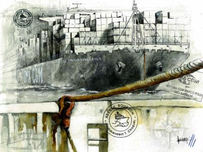 Vivi Navarro : tirage d'art, remorquage du géant Marco Polo - Bouts du monde