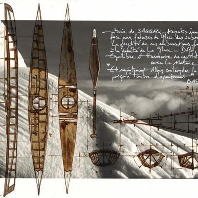 Nicolas Roux : tirage d'art dessin, Kayaks inuits par Nicolas Roux, Groenland - Bouts du monde