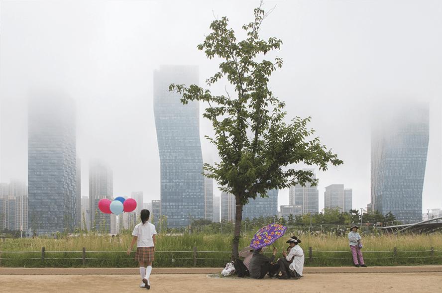 Photographie de Songdo, cité futuriste en Corée du Sud