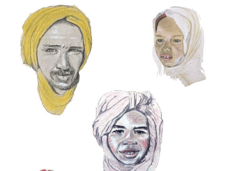 Les visages entre les dunes